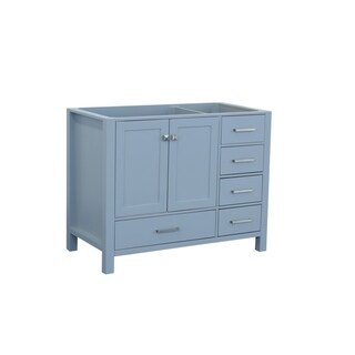 Ariel Cambridge 42 In. Left Offset Single Sink Base Cabinet In Grey