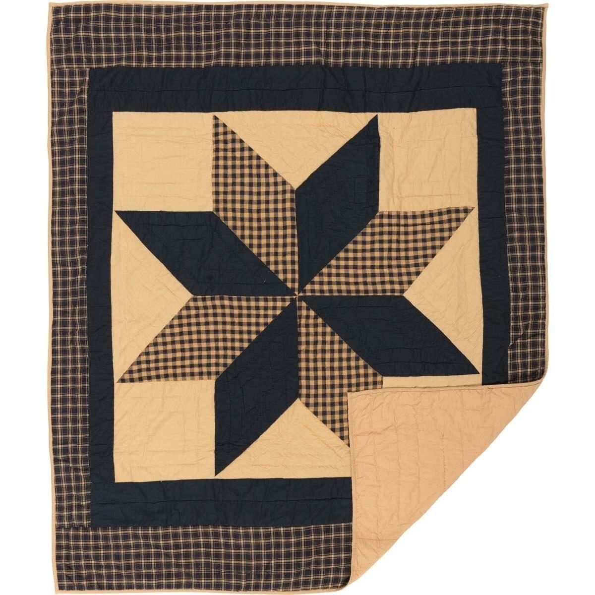 Black Primitive Decor Vhc Dakota Star Throw Rod Pocket Cotton Star Patchwork