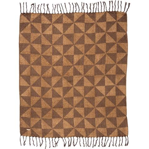 Brown Rustic Decor VHC Kendrick Throw Viscose Geometric Knotted Tassels Chenille
