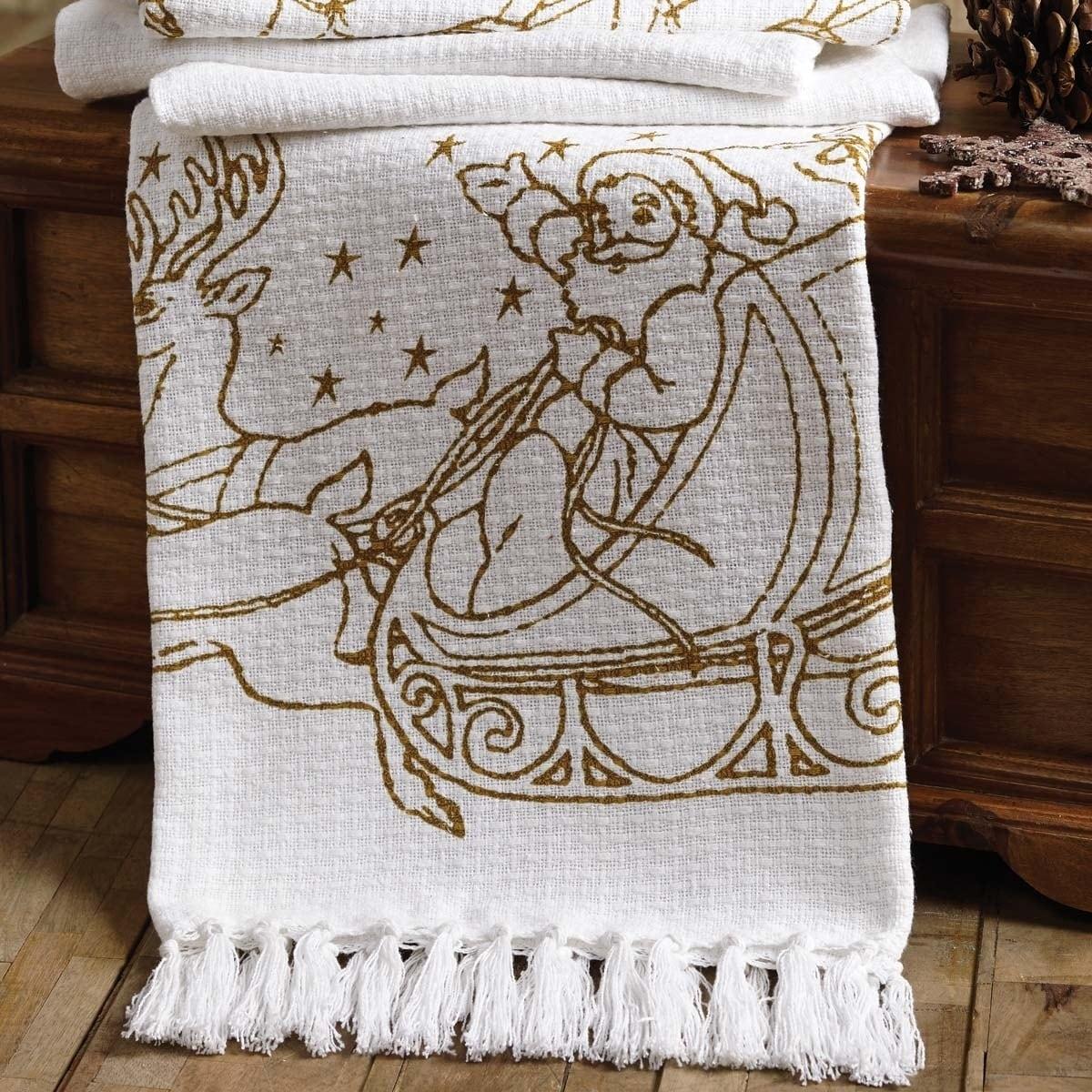 VHC Brands Santa's Reindeer Woven Throw, White (Cotton, C...