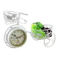 "Metal White Bicycle, 14"" Flower Pot Table Clock"