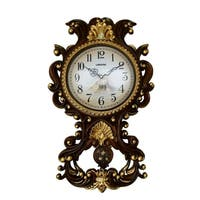 Wall Clock, Jeweled Baroque Style Brown & Gold Polyresin w/ Pendulum & Tassels