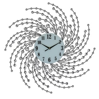 """Bejeweled Spiral Style Round Black & Silver Metal Wall Clock, 24"""""""