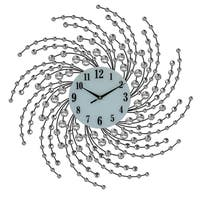 Bejeweled Spiral Style Round Black & Silver Metal Wall Clock, 24""