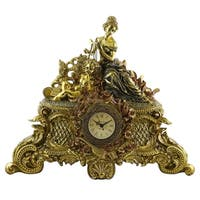 Gold Table/Mantle Clock, Woman w/ Harp & Angel, 16x19