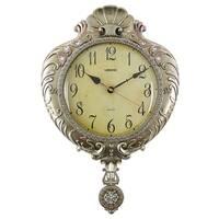 "Wall Clock, Jeweled Silverish Gold Polyresin w/ Pendulum, 22"""