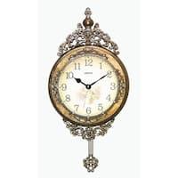 """Jeweled Ornate Wall Clock, Silverish Gold w/ Pendulum, 29"""""""