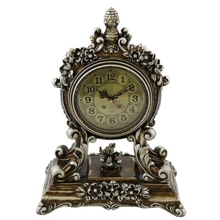 Table Clock, Jeweled Silverish Gold Polyresin, 15""