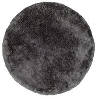 Hand-Tufted Silky Shag Charcoal Polyester Round Rug - 4' x 4'