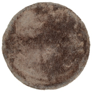Hand-Tufted Silky Shag Brown Polyester Round Rug - 4' Round