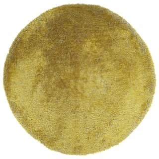 Bombay Home Hand-tufted Silky Shag Lime Green Indoor Round Rug (8')