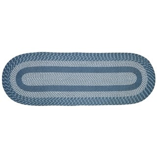 Newport Braided Rug - Slate Blue - 2' x 9' Oval
