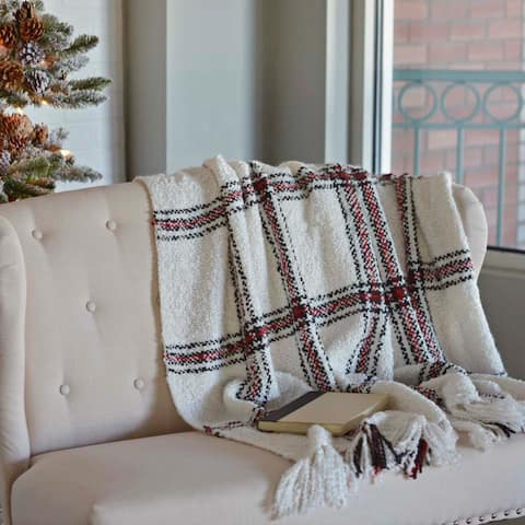 White Farmhouse Christmas Holiday Decor VHC Amory Throw Acrylic Plaid Knotted Tassels Textured