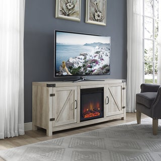 White Oak Barn Door 58-inch Fireplace TV Stand