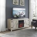 58-inch Barn Door Fireplace TV Stand - White Oak