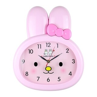 """Kid's Wall Clock, 14"""" Pink Rabbit"""