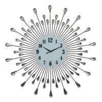 Round Black & Silver Spokes Metal Wall Clock, 27""