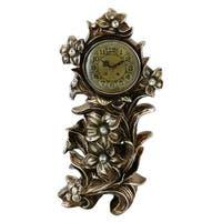 "Table Clock, Jeweled Silverish Gold Polyresin, 21"""