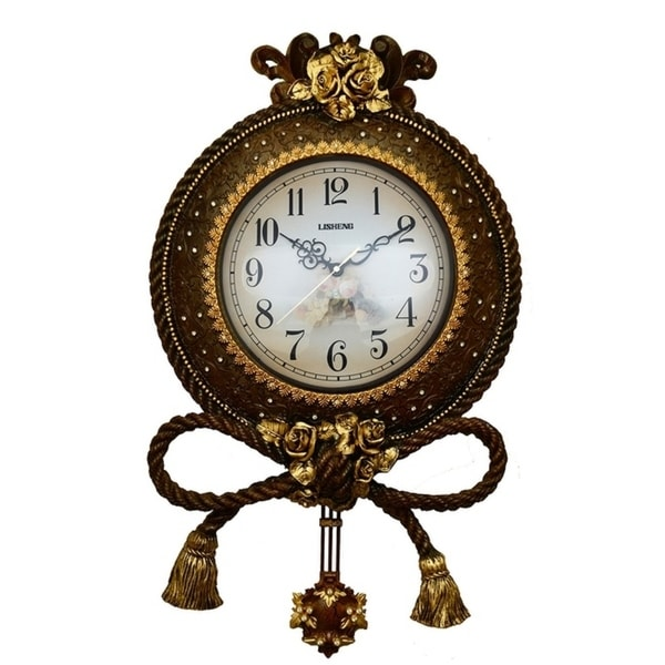 Jeweled Round Brown Gold Polyresin Wall Clock w Pendulum