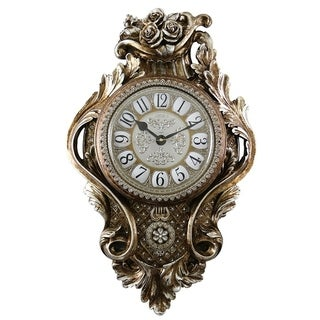 Wall Clock, Jeweled Baroque Style Silverish Gold Polyresin w/ Pendulum & Tassels