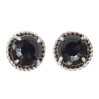 Kabella Round Black Agate Sterling Silver Rope Stud Earrings