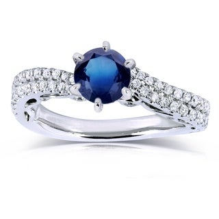 Annello by Kobelli 14k White Gold 1 2/5ct TGW Sapphire and Diamond Wavy Double Row Band Engagement Ring