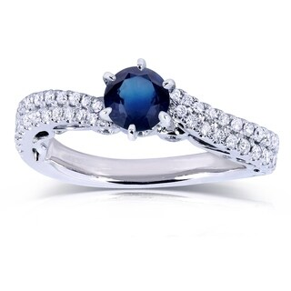 Annello by Kobelli 14k White Gold 1ct TGW Sapphire and Diamond Wavy Double Row Band Engagement Ring
