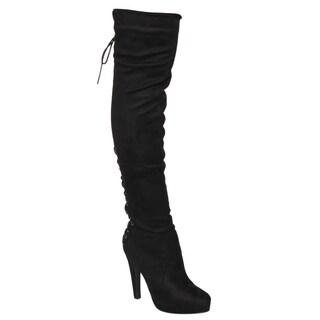 Beston FM35 Women's Side Zip Over The Knee Boots Half Size Small