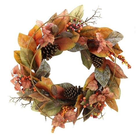 "24"" Artificial Magnolia Leaf Vine, Pinecones, and Berries Fall Wreath"