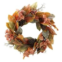 """24"""" Artificial Magnolia Leaf Vine, Pinecones, and Berries Fall Wreath"""
