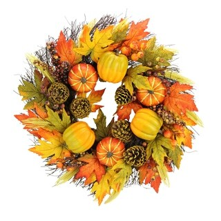 "24"" Faux Pumpkins, Pinecone, Maple Leaves and Berries Fall Wreath"