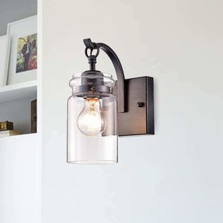 Buy wall lights online at overstock our best lighting deals anastasia antique black single light wall sconce with clear glass shade aloadofball Choice Image