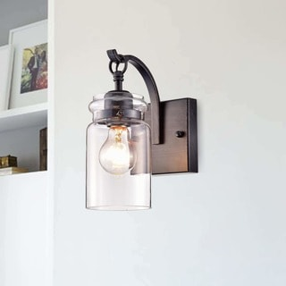 wall sconce lighting. Anastasia Antique Black Single Light Wall Sconce With Clear Glass Shade Lighting S