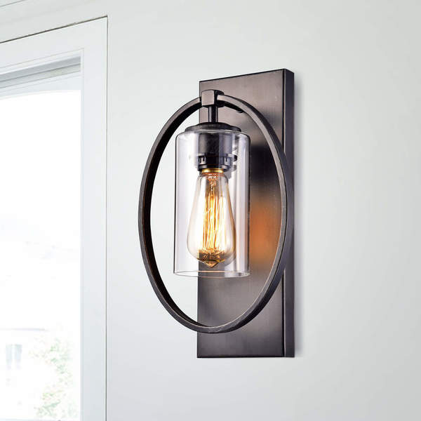Shop Anastasia Single Light Wall Sconce With Clear Glass Shade On - Single light bathroom sconce
