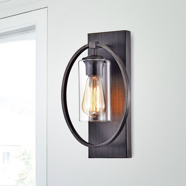 Anastasia Single Light Wall Sconce with Clear Glass Shade - N/A. Opens flyout.