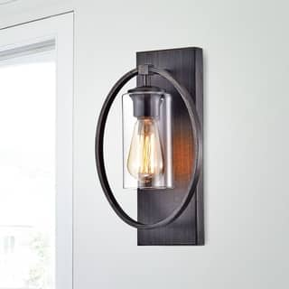 Indoor wall lights for less overstock anastasia single light wall sconce with clear glass shade aloadofball Image collections