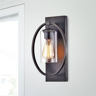 Wall lights for less overstock anastasia single light wall sconce with clear glass shade aloadofball Image collections