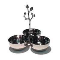 Heim Concept Sparkle Silver Leaf Triple Nut Bowl