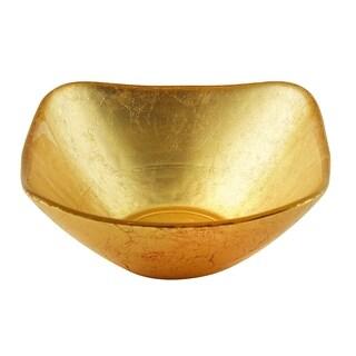 """Heim Concept Atlas Square Gold Glass Bowl, 9.5"""""""