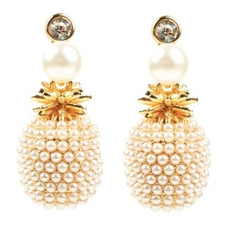 Eye Candy LA Pineapple Faux Pearl Fashion Earring