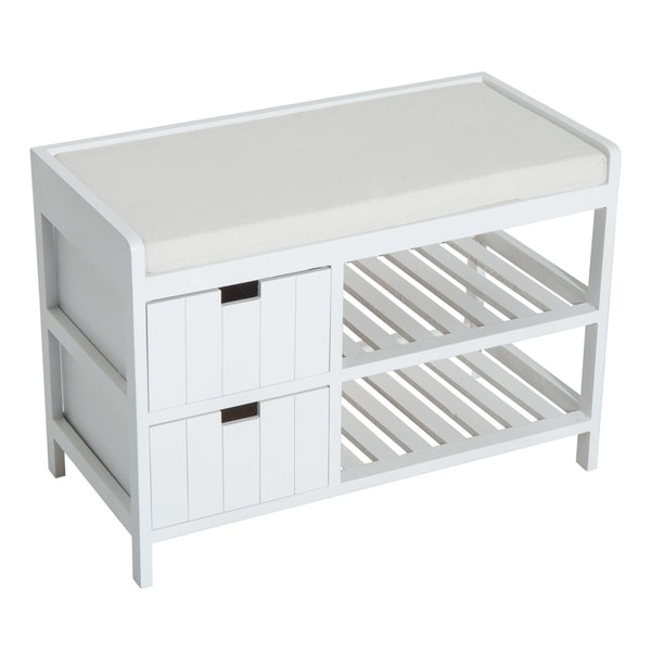 HomCom Wooden Shoe Rack / Entryway Bench HomCom Wooden Shoe Rack / Storage Entryway Bench Organizer w/ Drawer (White)