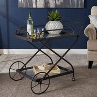 Perley Traditional Iron Glass Bar Cart with Shelves by Christopher Knight Home