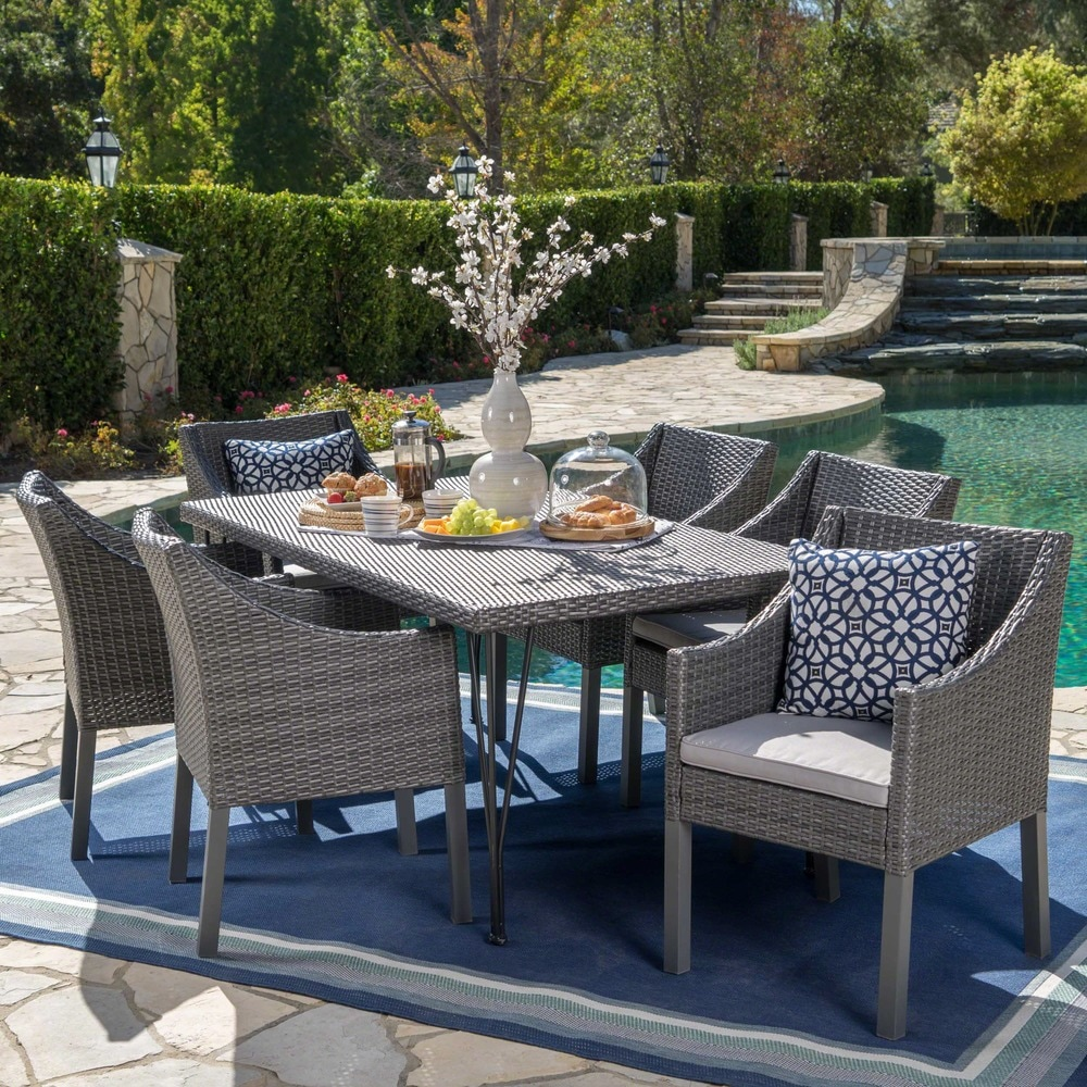 Christopher Knight Home Giovani  Outdoor 7 Piece Rectangular Wicker Dining Set with Cushions