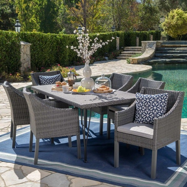Giovani Outdoor 7-piece Rectangular Wicker Dining Set with Cushions by Christopher Knight Home