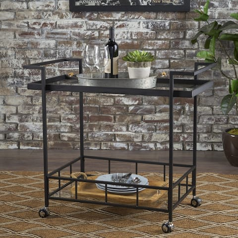 Ambrose Industrial Glass Bar Cart with Shelves by Christopher Knight Home