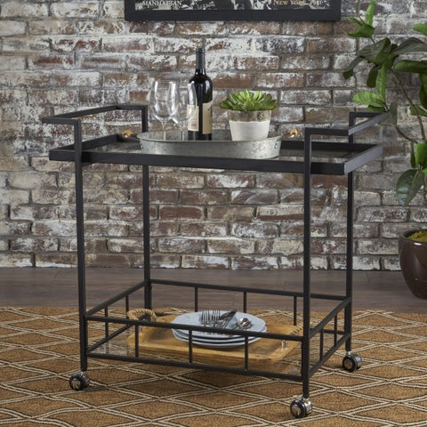 Ambrose Industrial Iron Glass Bar Cart with Shelves by Christopher Knight Home