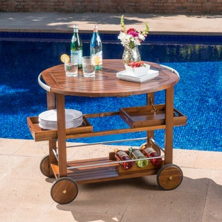 Tillary Outdoor Aluminum Wood Drop Leaf Bar Cart by Christopher Knight Home