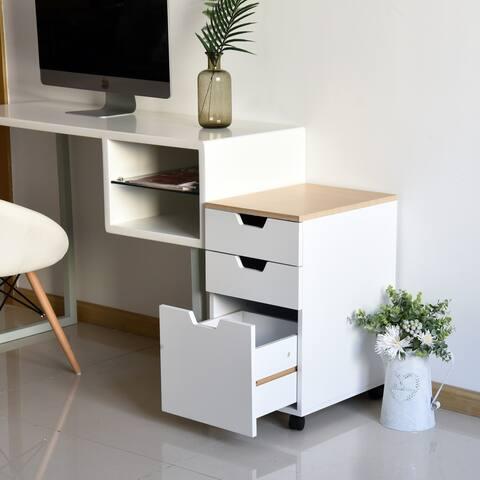 HomCom 3-Drawer Rolling Storage Cabinet with Locking Wheels