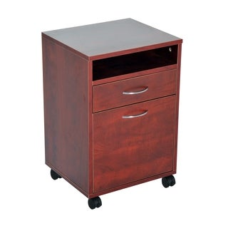 "HomCom 24"" Mobile Printer Stand / Office Storage Cabinet On Wheels - Brown"