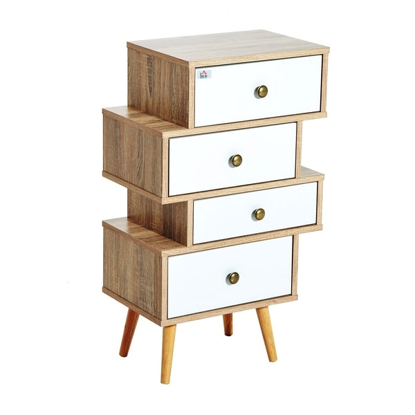 HomCom Trendy Accent Chest With 4 Offset Storage Drawers